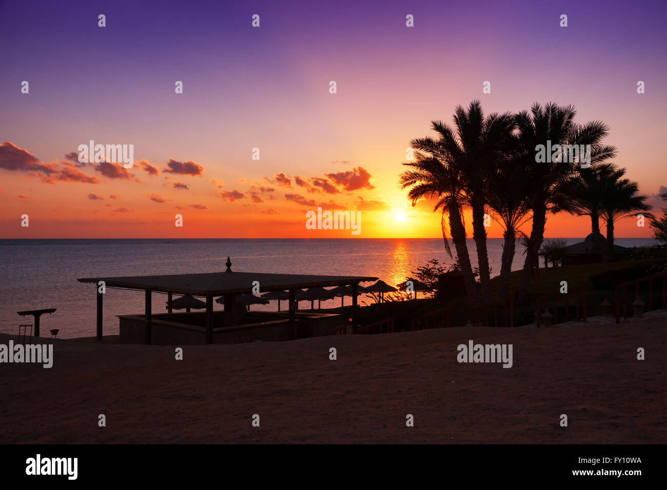 Sunset over the Red sea, Marsa Alam, Egypt - Stock Image