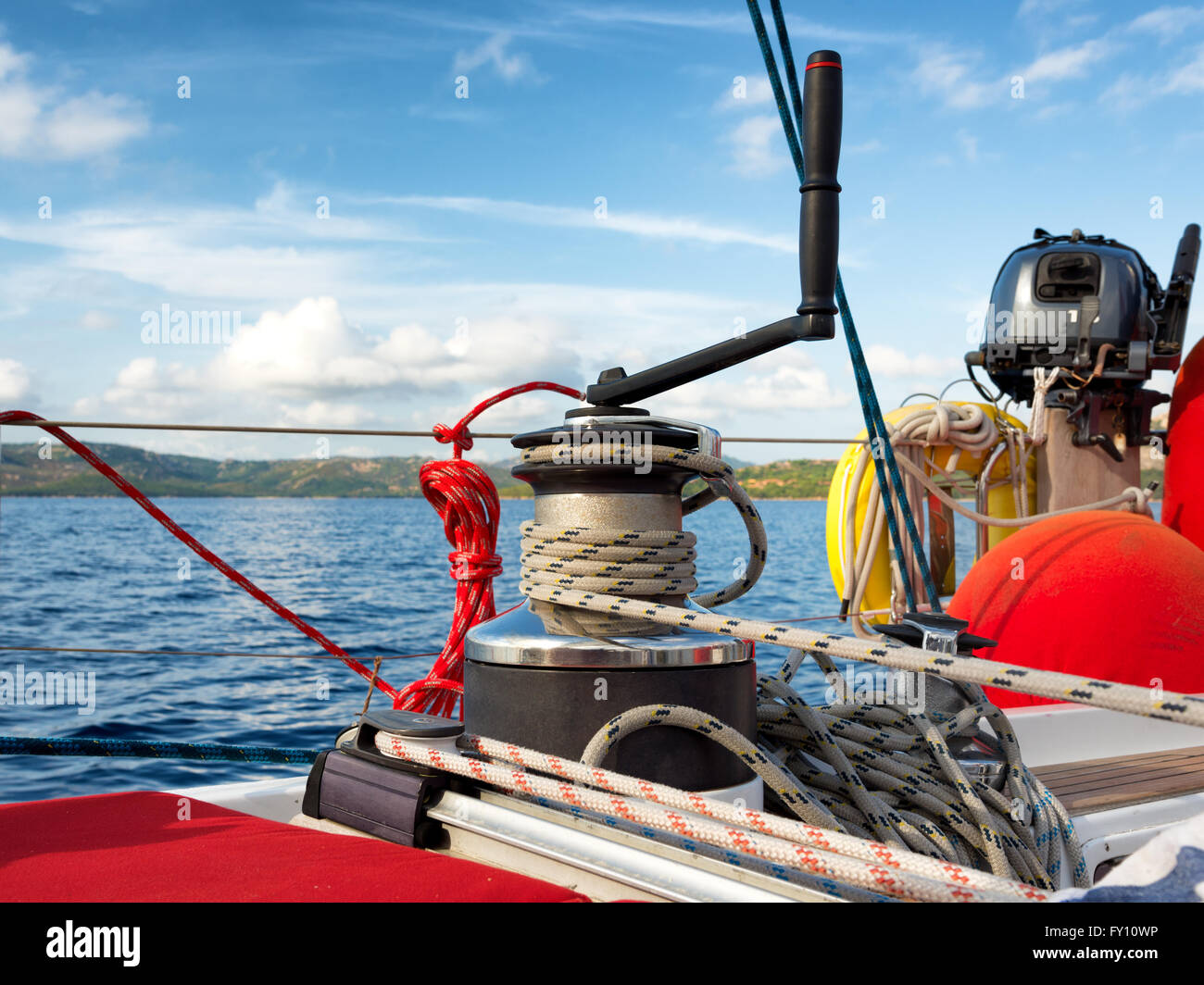 cruising, winch on a sailing boat - Stock Image