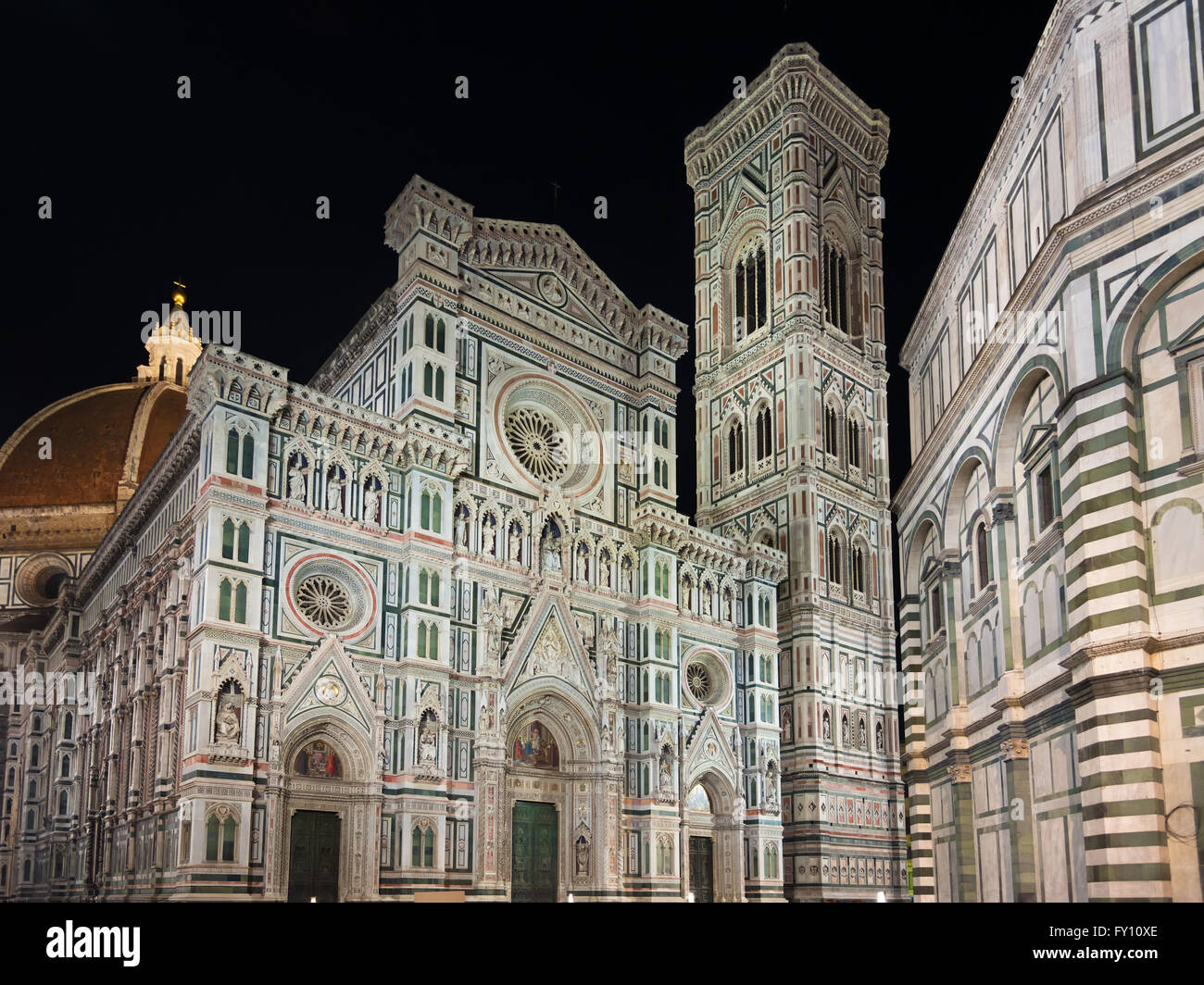 Florence Cathedral and bell tower at night. Tuscany, Italy - Stock Image