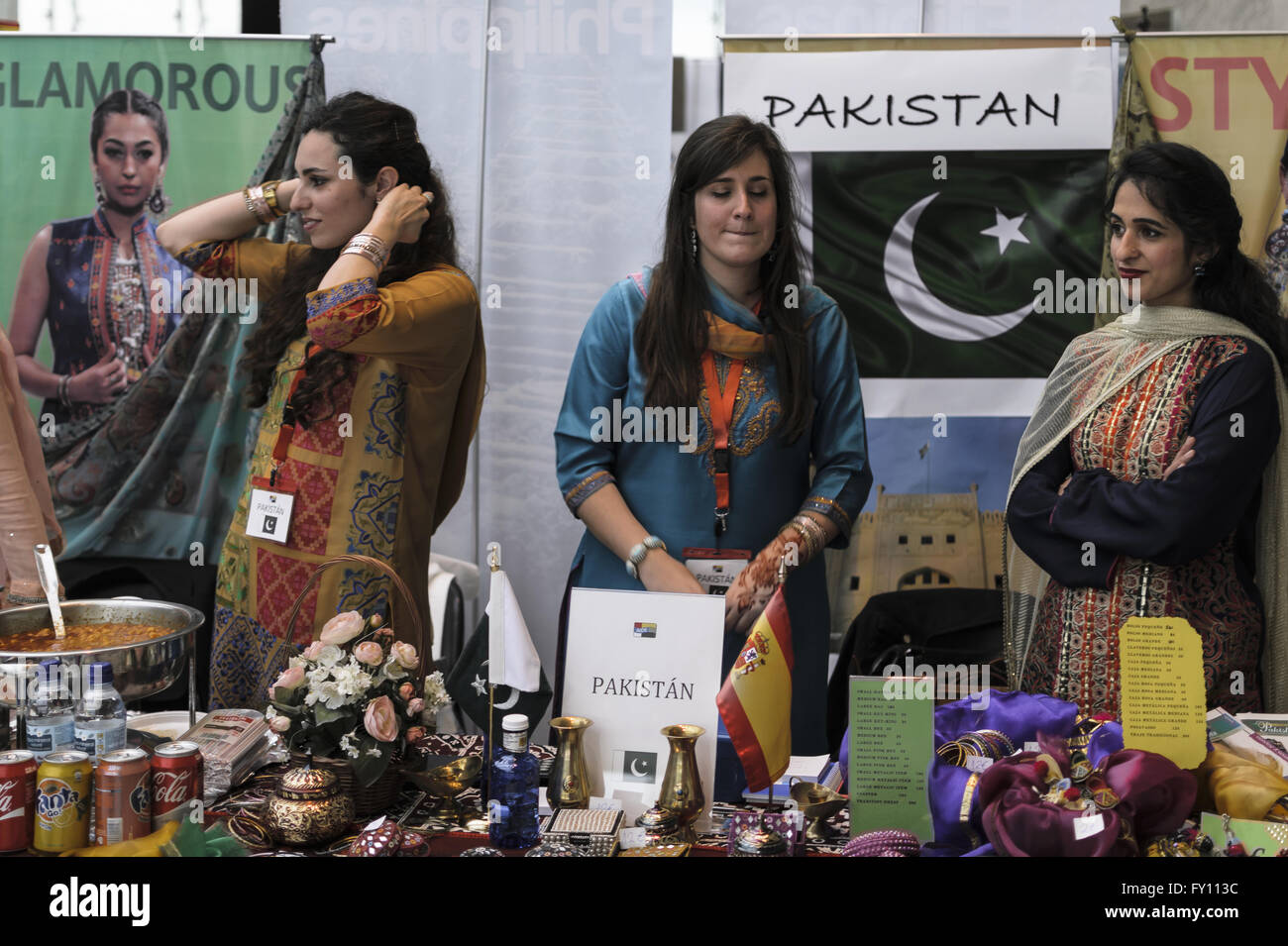 A  Pakistani stand view in Kermés exhibition, 16 th April 2016, Congress Palace, Madrid city, Spain - Stock Image