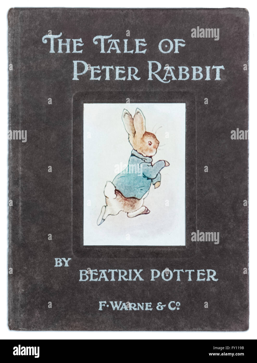 Front cover of 'The Tale of Peter Rabbit' by Beatrix Potter (1866-1943), first commercial edition published by F. - Stock Image