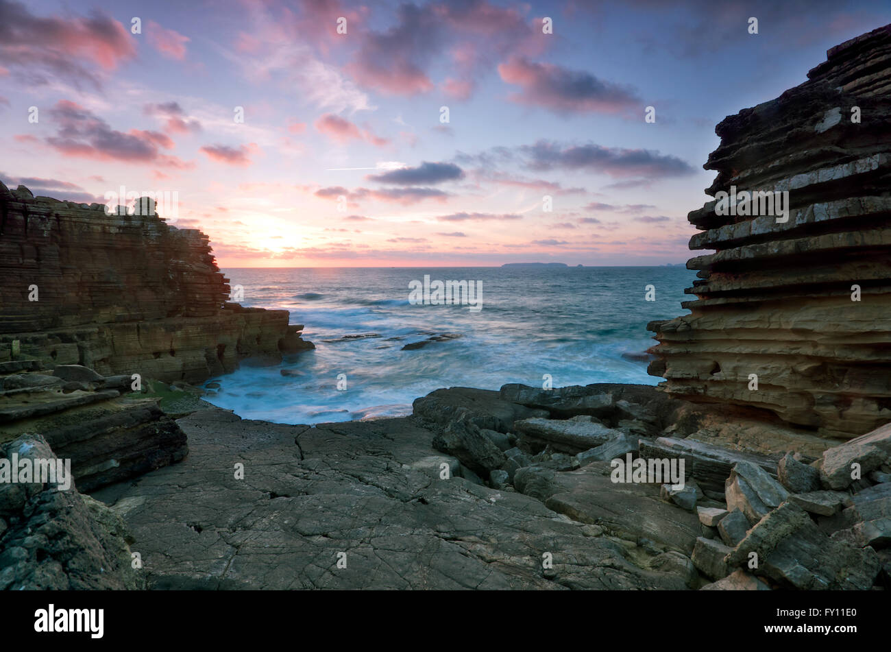 Sunset at Peniche, Portugal - Stock Image