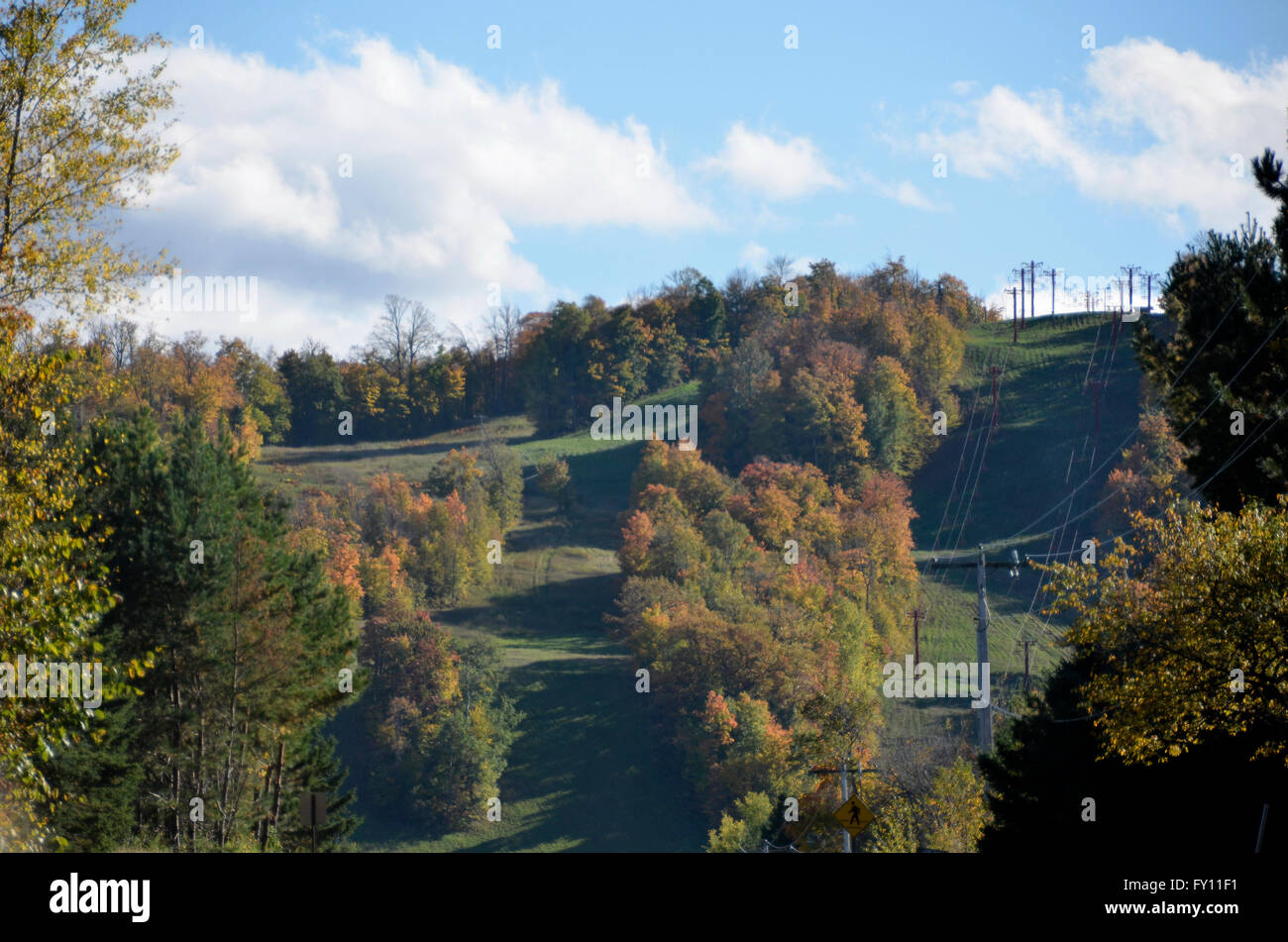 big powderhorn ski resort in bessemer, michigan in autumn stock