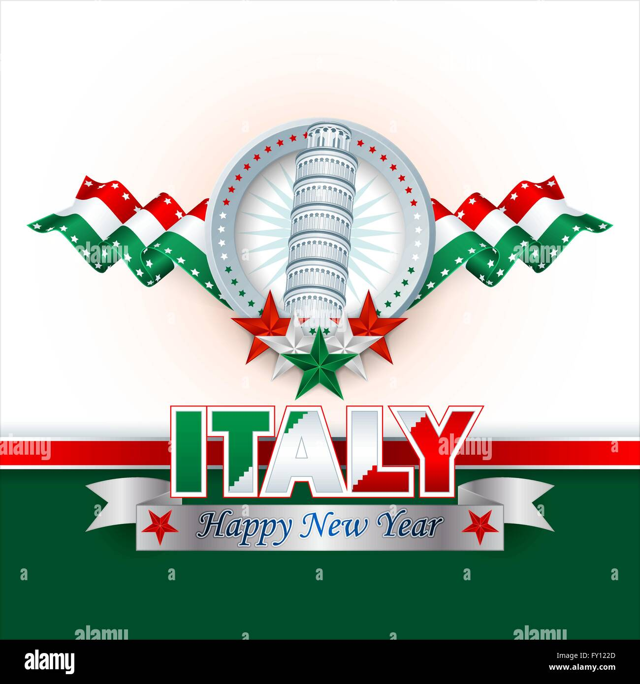 happy new year background with stars and flag in national colors of italy tower of pisa shapes for italian new year celebration