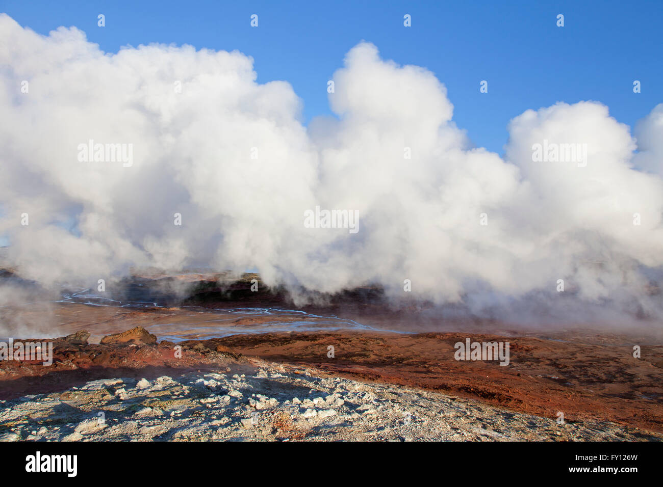Steam vents / fumaroles at Gunnuhver, geothermal area and center of the Reykjanes Volcanic System, Iceland - Stock Image