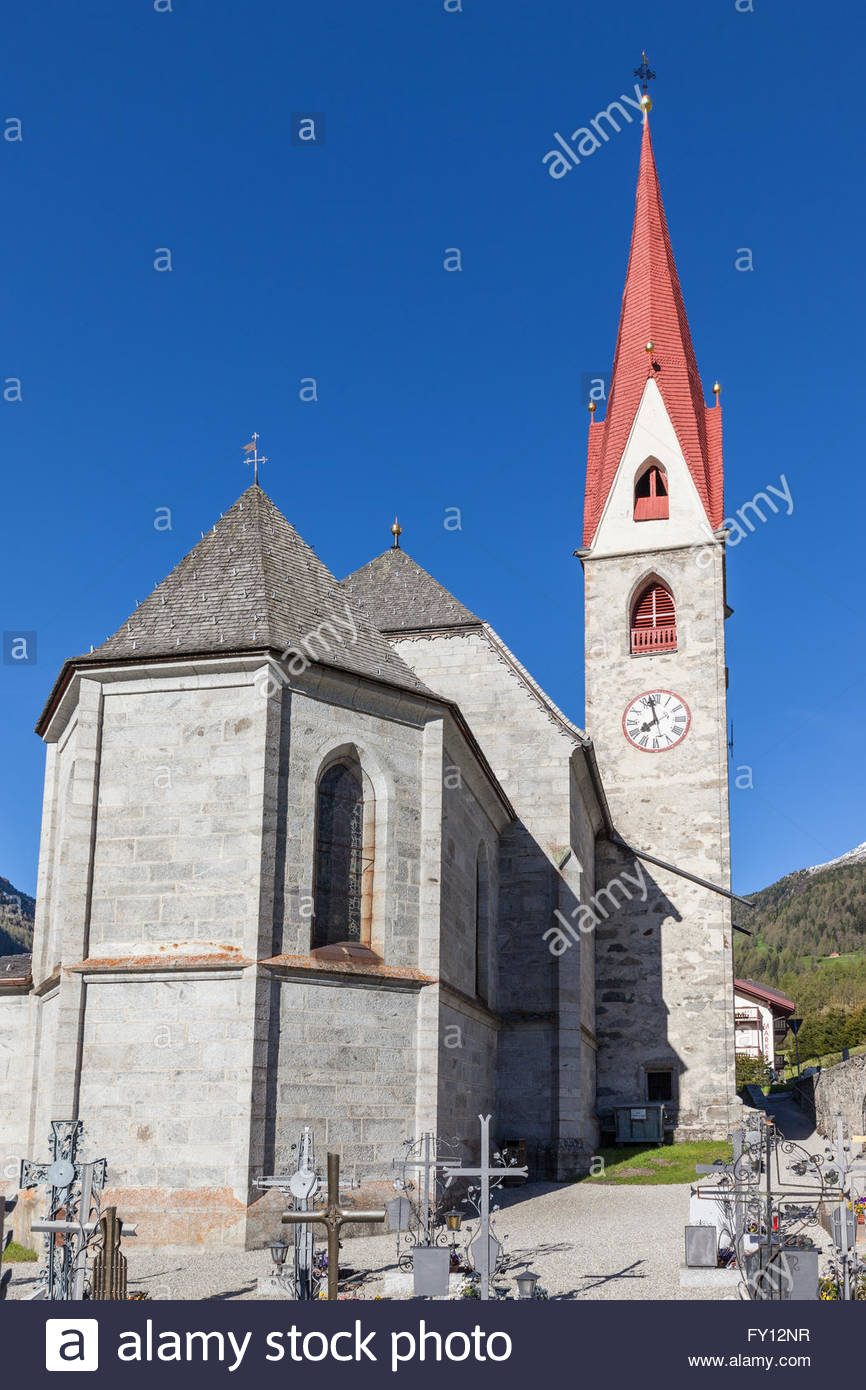 Village church of Rein, Campo Tures, South Tyrol, Italy - Stock Image
