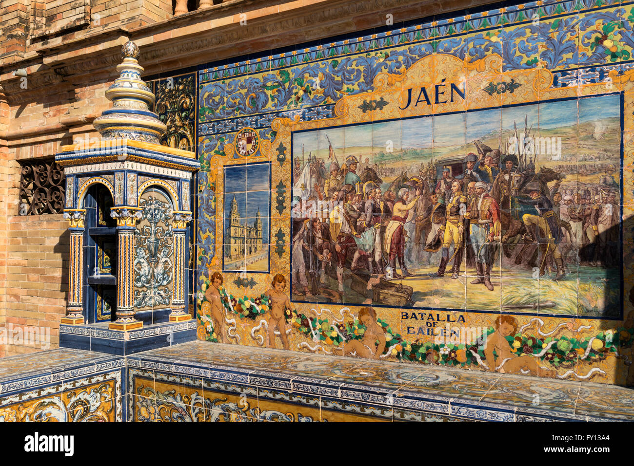 Antique ceramic, wall tiles representing provinces and cities of Spain , Jaen, Placa de Espana, spanish square, - Stock Image
