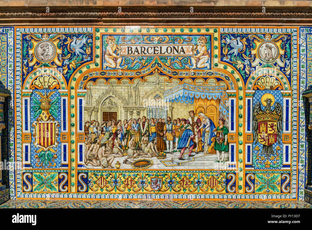 Antique ceramic, wall tiles representing provinces and cities of Spain , Barcelona , Placa de Espana, spanish square, - Stock Image