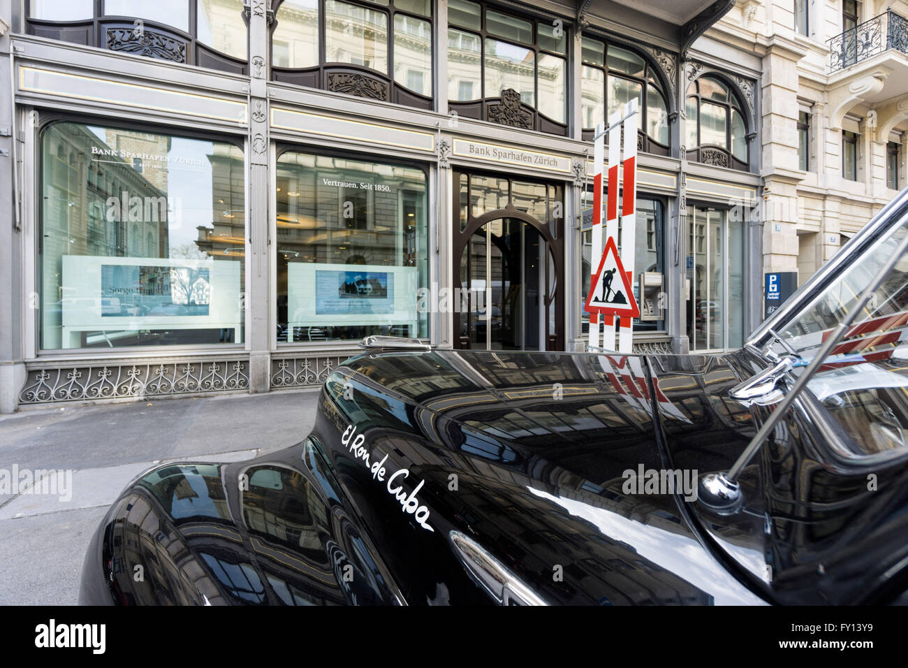 Bank Sparhafen Zurich, Oldtimer, Switzerland Stock Photo