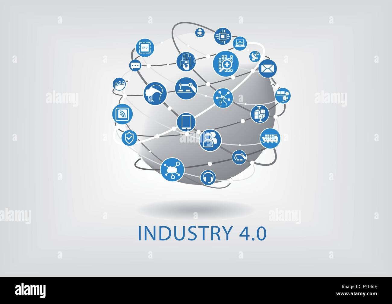 Industry 4.0 infographic. Connected smart devices with globe. - Stock Vector