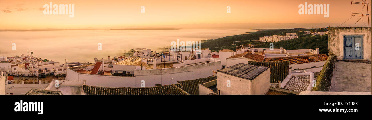 Vejer de la Frontera,  pueblo blanco village , sunrise, Panorama, Spain Stock Photo