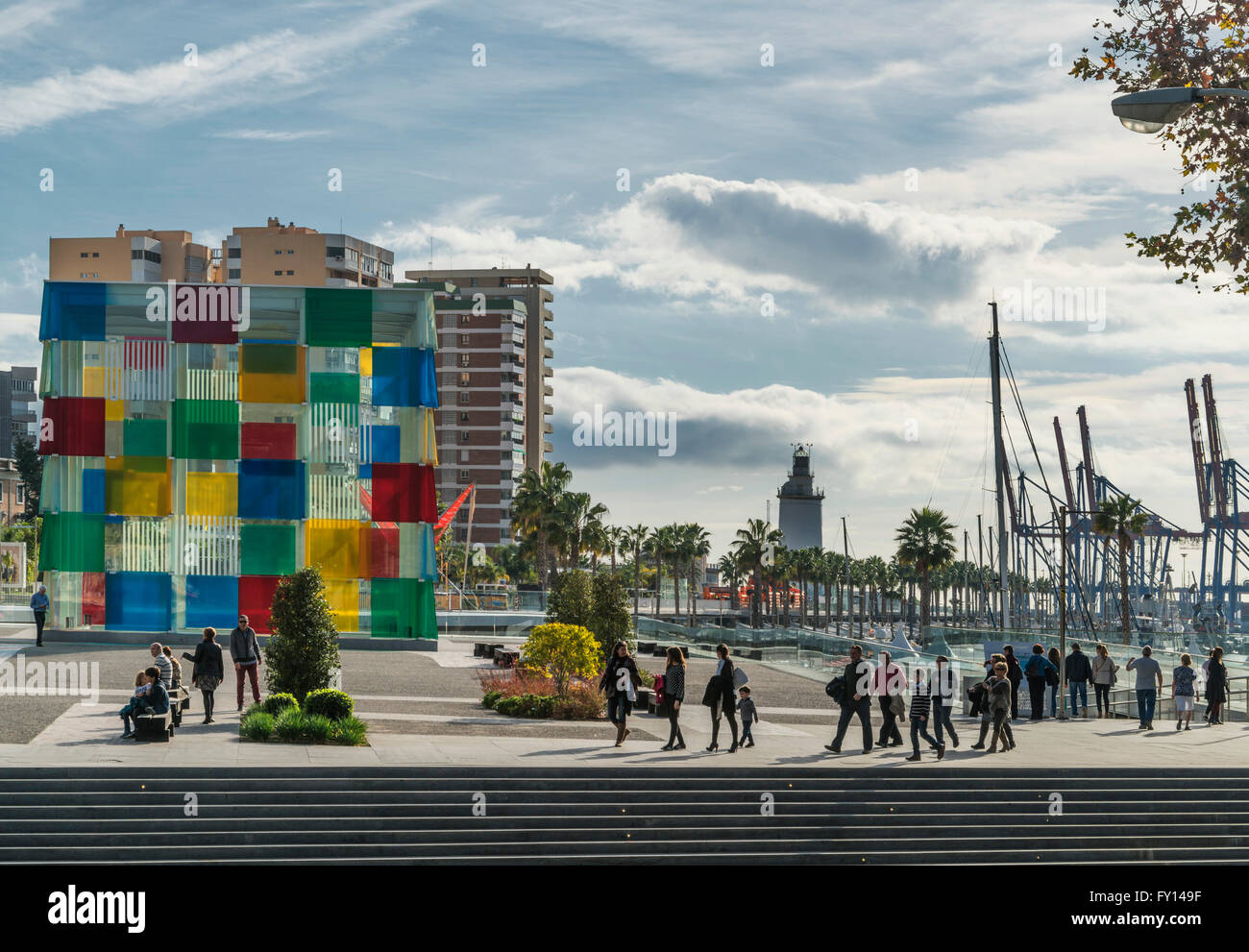 Centre Pompidou, Lighthouse, container docks, Port, Malaga, Andalusia, Spain - Stock Image
