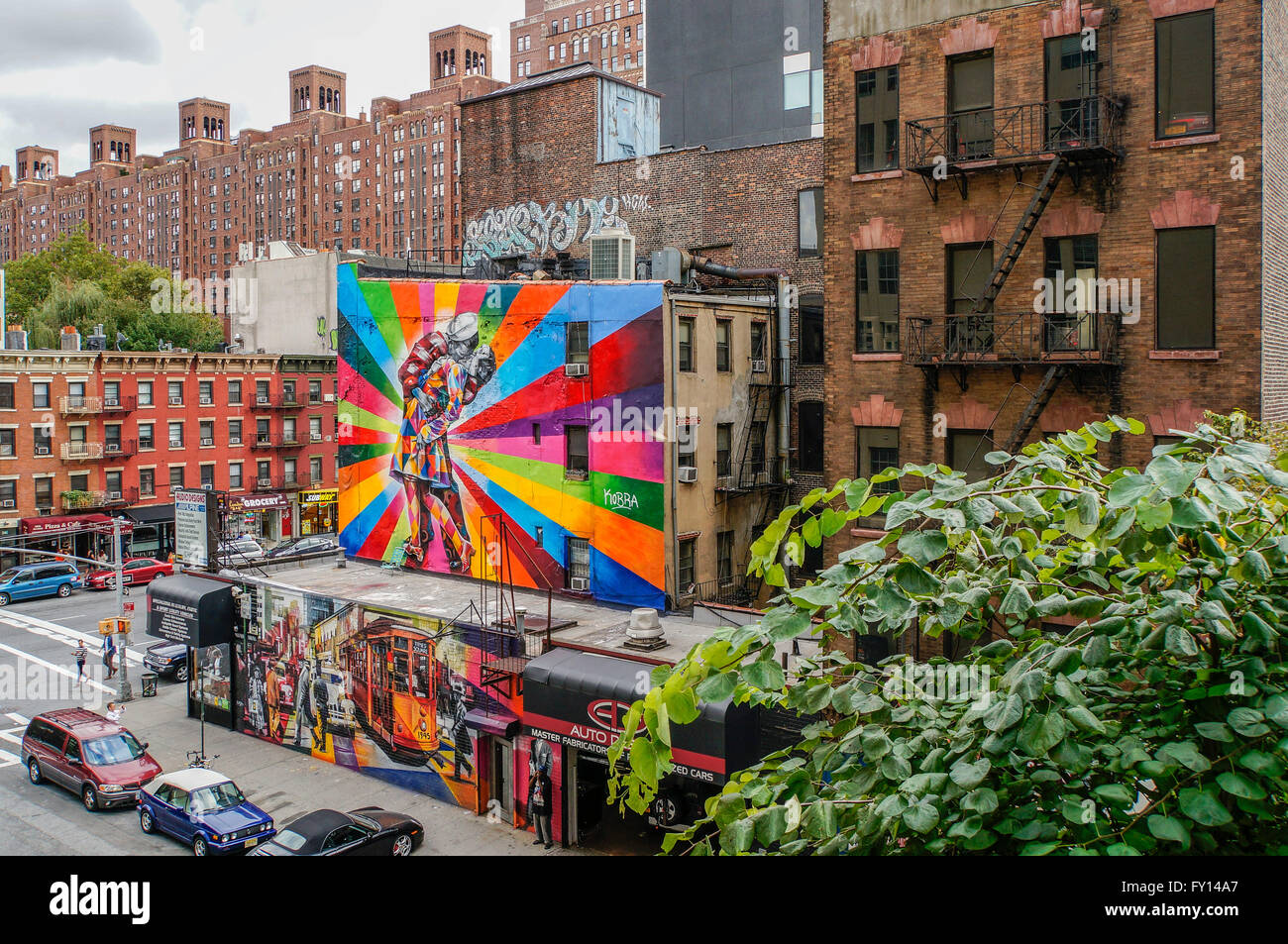 Graffiti art installation on buildings seen from the High Line, Meatpacking district, New York City Stock Photo