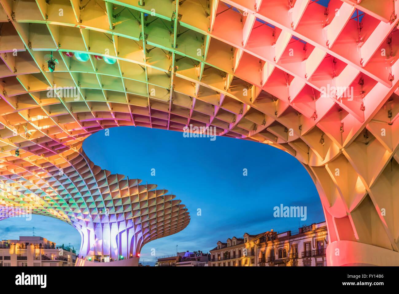 Metropol Parasol , Plaza de la Encarnacion ,Seville, J. Mayer Hermann architects, bonded timber with polyurethane - Stock Image