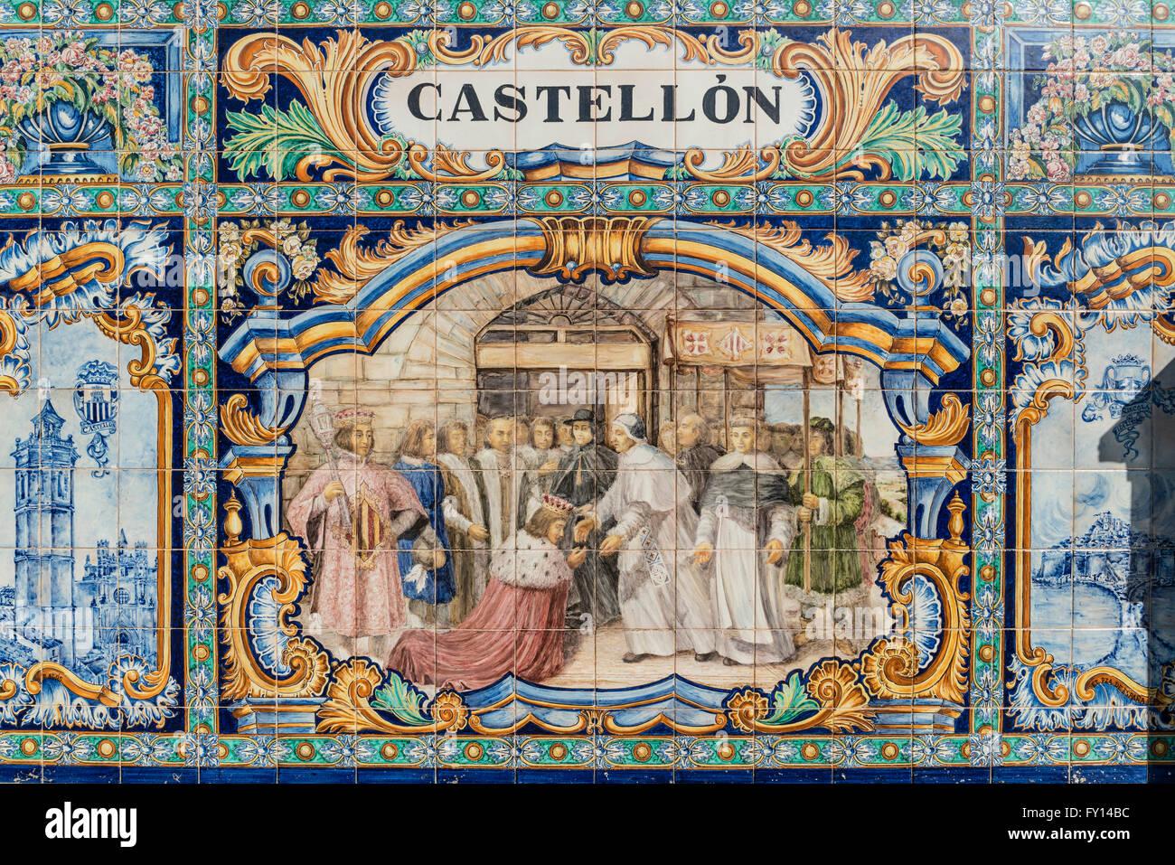 Antique ceramic, wall tiles representing provinces and cities of Spain , Castellon, Placa de Espana, spanish square, - Stock Image