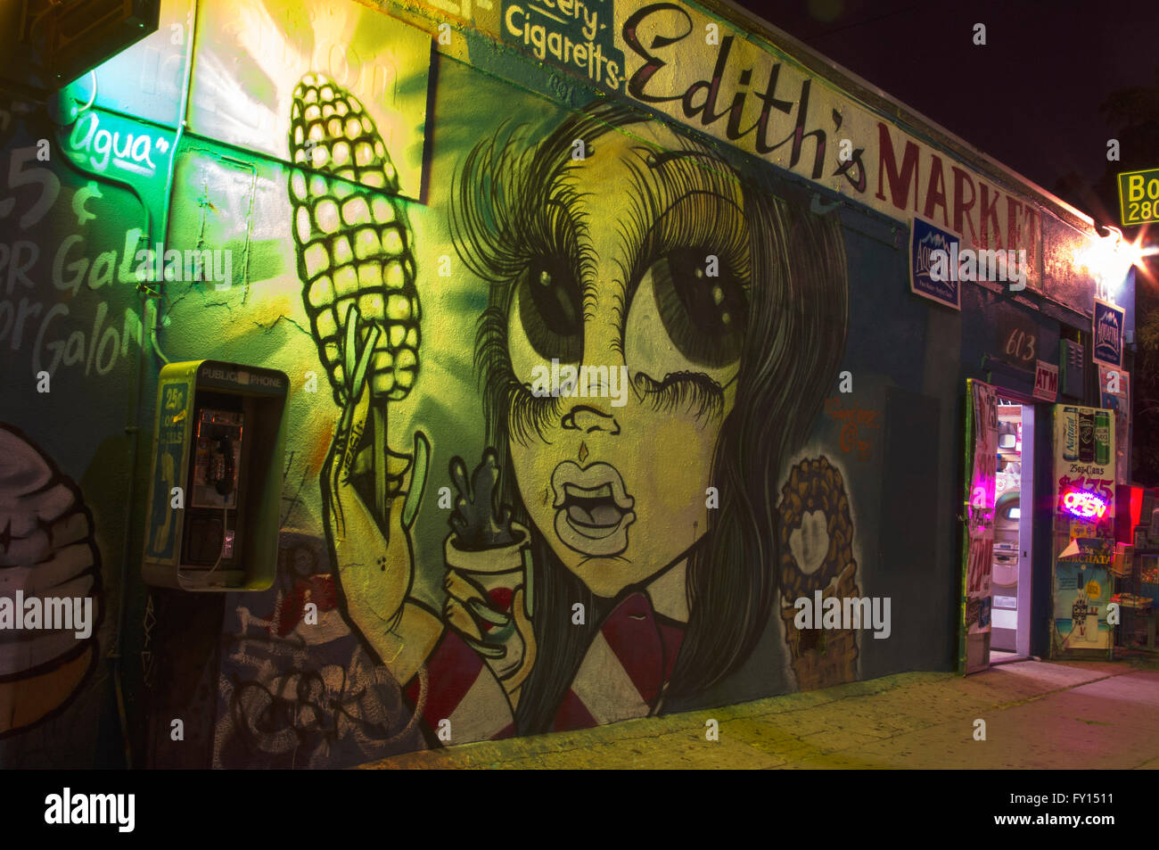 East L.A. girl, mural,gangster, night photo - Stock Image
