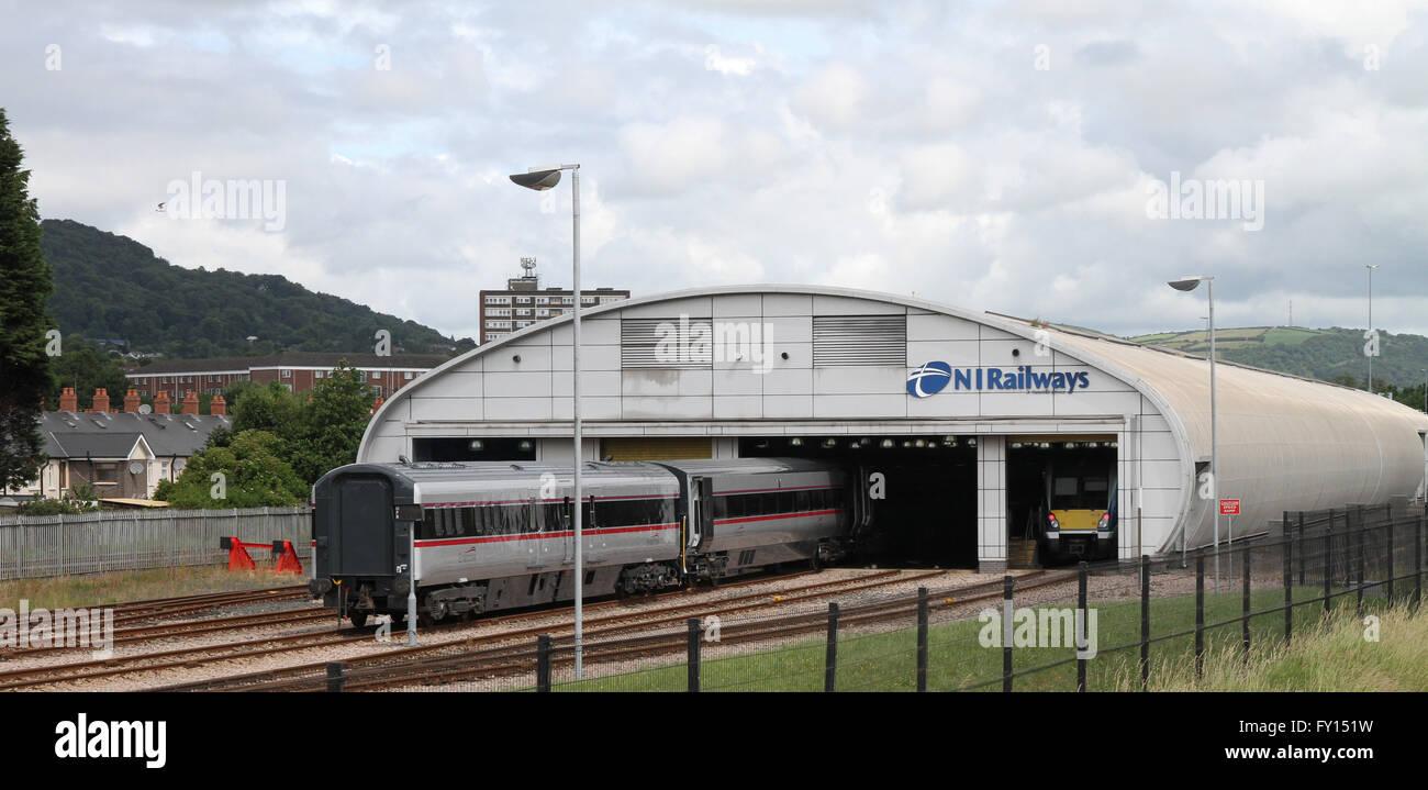 Railway workshop at Duncrue Street, Belfast. - Stock Image