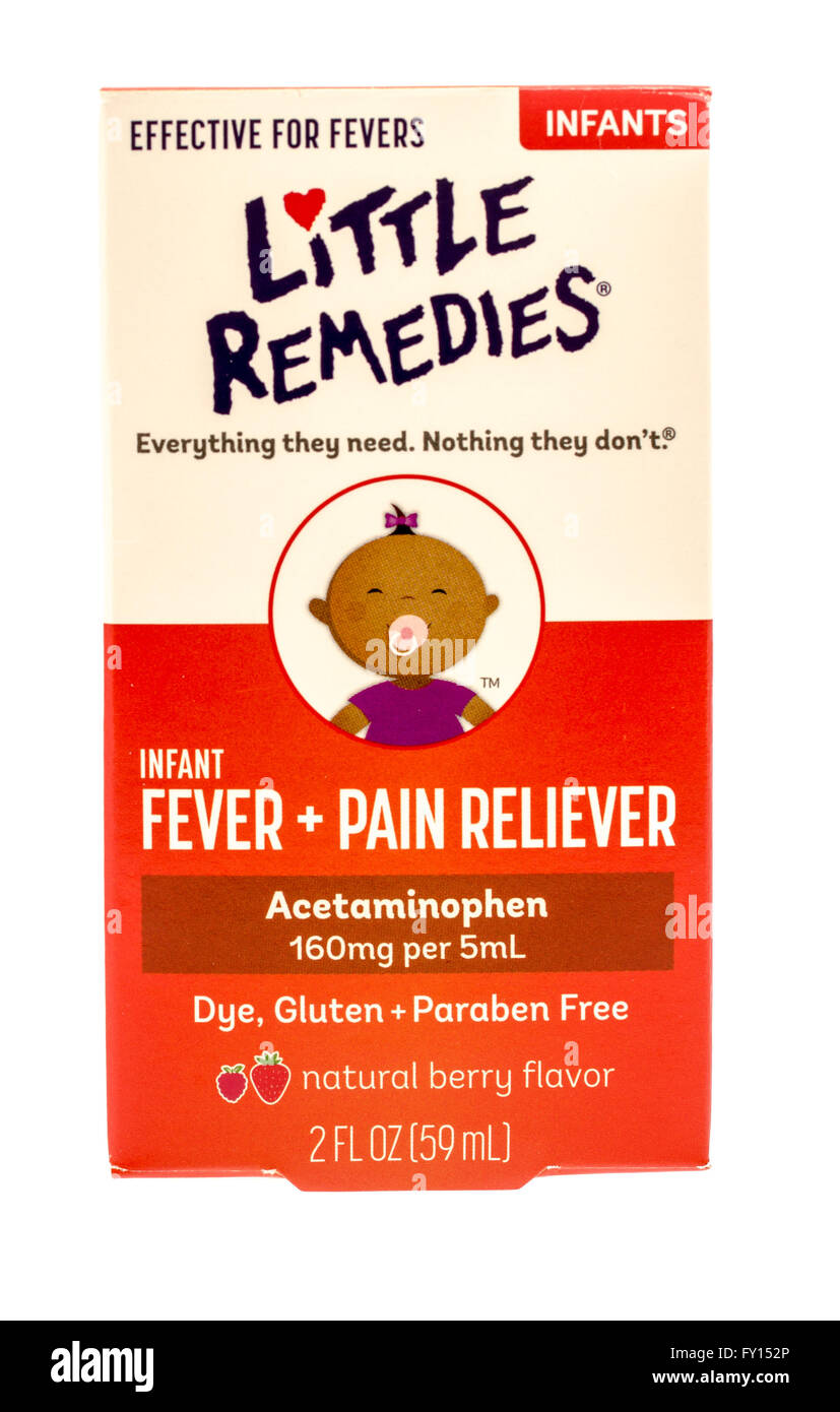 Winneconne, WI -1 Oct 2015:  Box of Little Remedies fever and pain reliever for infants. - Stock Image