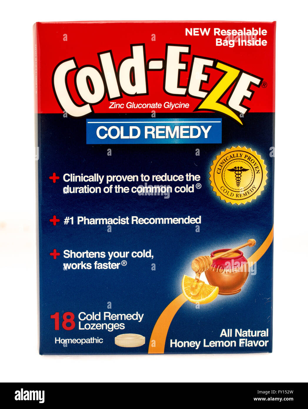 Winneconne, WI -1 Oct 2015:  Box of Cold-Eeze cold remedy that is clinically proven to work. - Stock Image