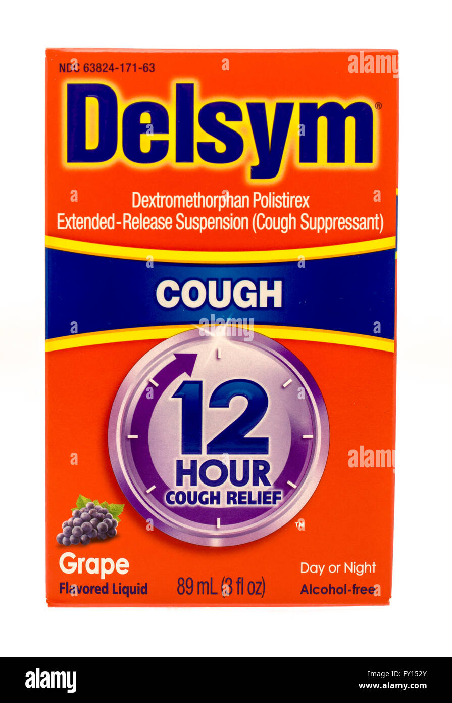 Winneconne, WI -1 Oct 2015:  Box of Delsym cough suppressant medicine. - Stock Image