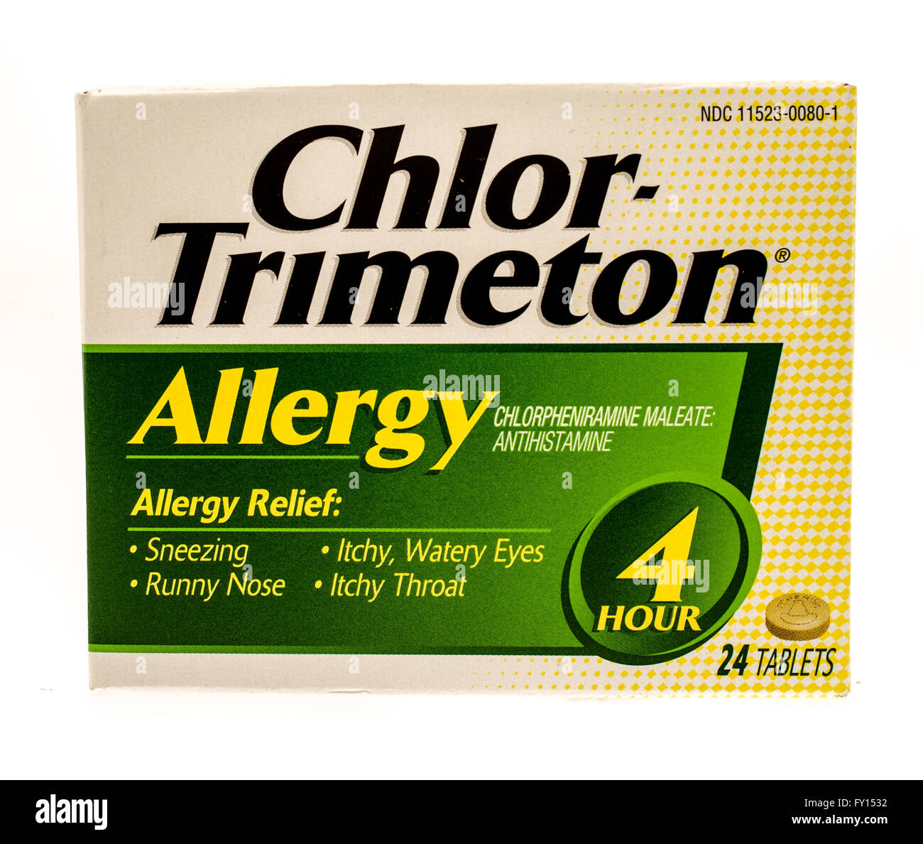 Winneconne, WI -1 Oct 2015:  Box of Chlor-Trimeton allergy relief tablets. - Stock Image