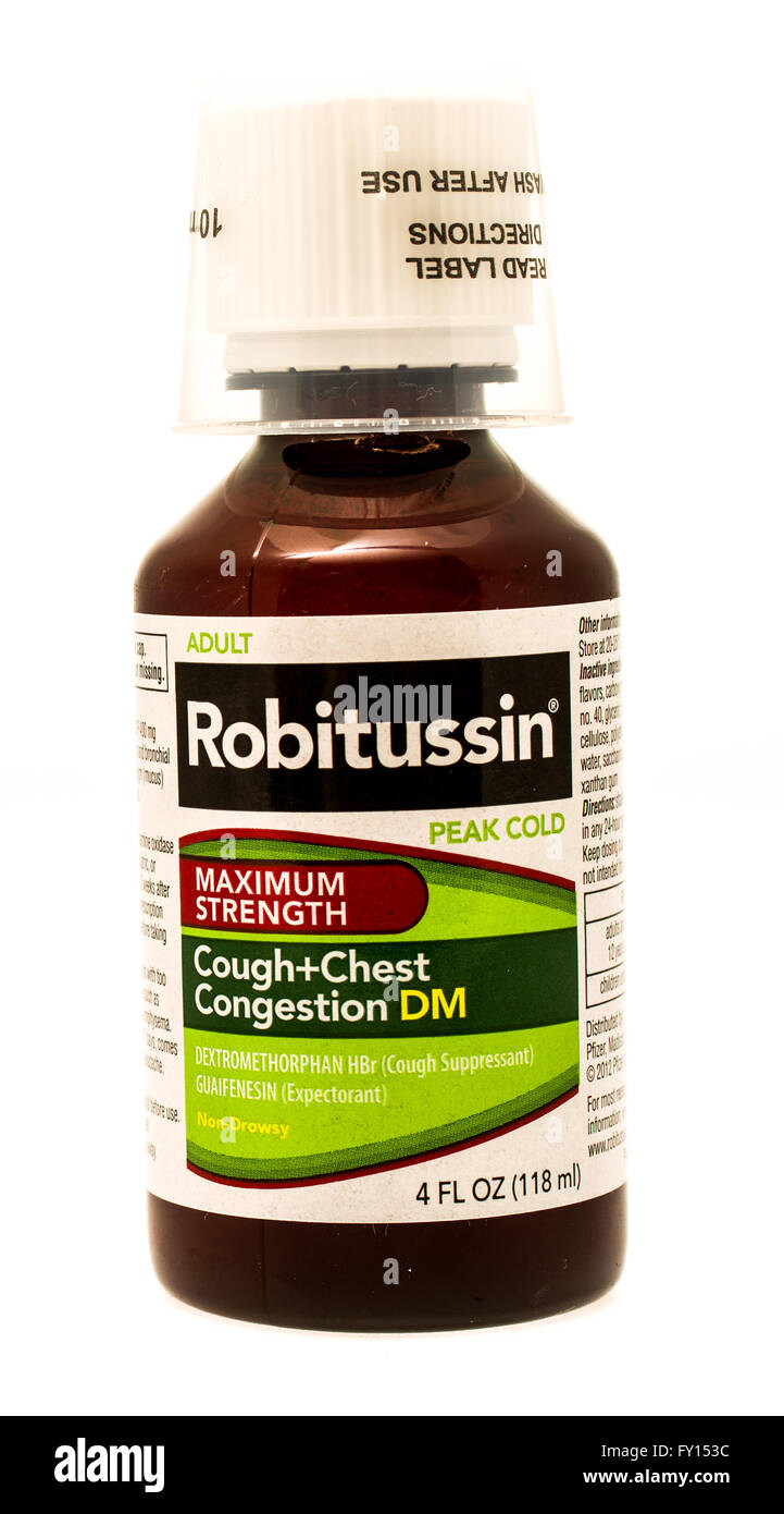 Winneconne, WI -1 Oct 2015:  Bottle of Roitussin cough and chest congestion medicine - Stock Image