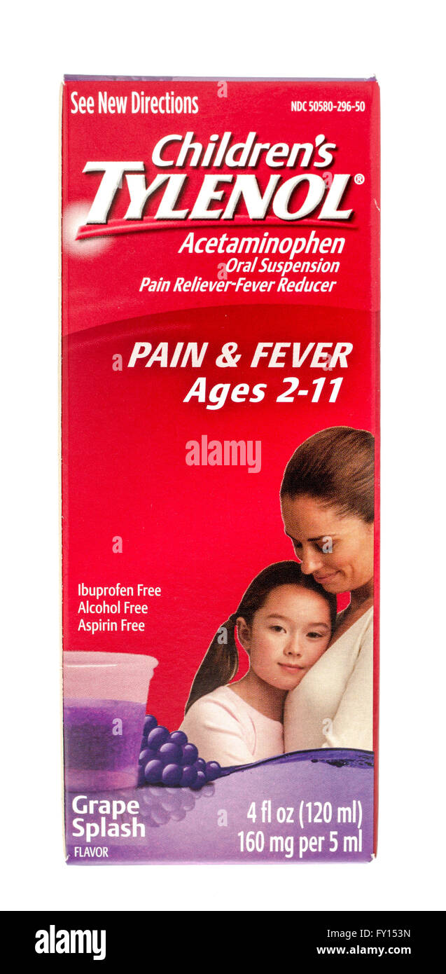 Winneconne, WI -15 Oct 2015:  Box of Children Tylenol fever and pain reliever. - Stock Image