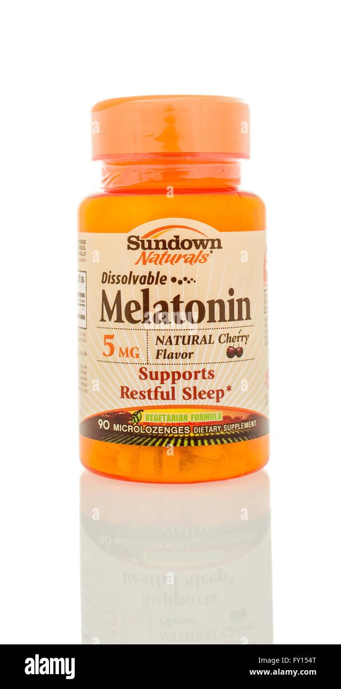 Winneconne, WI - 5 March 2016:  A bottle of Melatonin that is dissolveable made by Sundown. - Stock Image