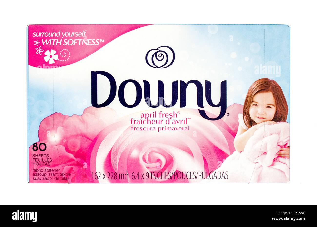 Winneconne, WI -29 Oct 2015: Box of Downy fabric softner sheets. Stock Photo