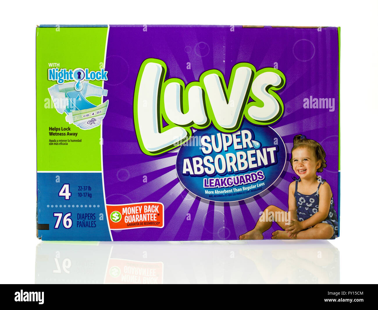 Winneconne, WI - 20 Jan 2016:  Box of Luvs diapers that are super absorbent. Stock Photo