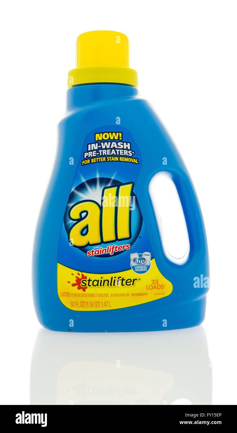 Winneconne, WI - 4 Feb 2016:  Bottle of All  laundry detergent. - Stock Image