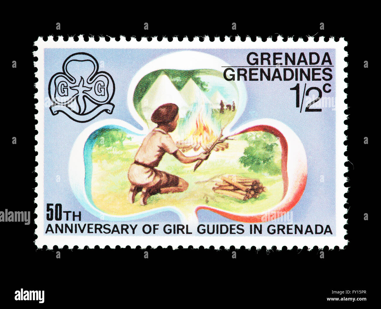 Postage Stamp From Grenada Grenadines Depicting Girl Guides And Symbols Issued For The 50th Anniversary Of