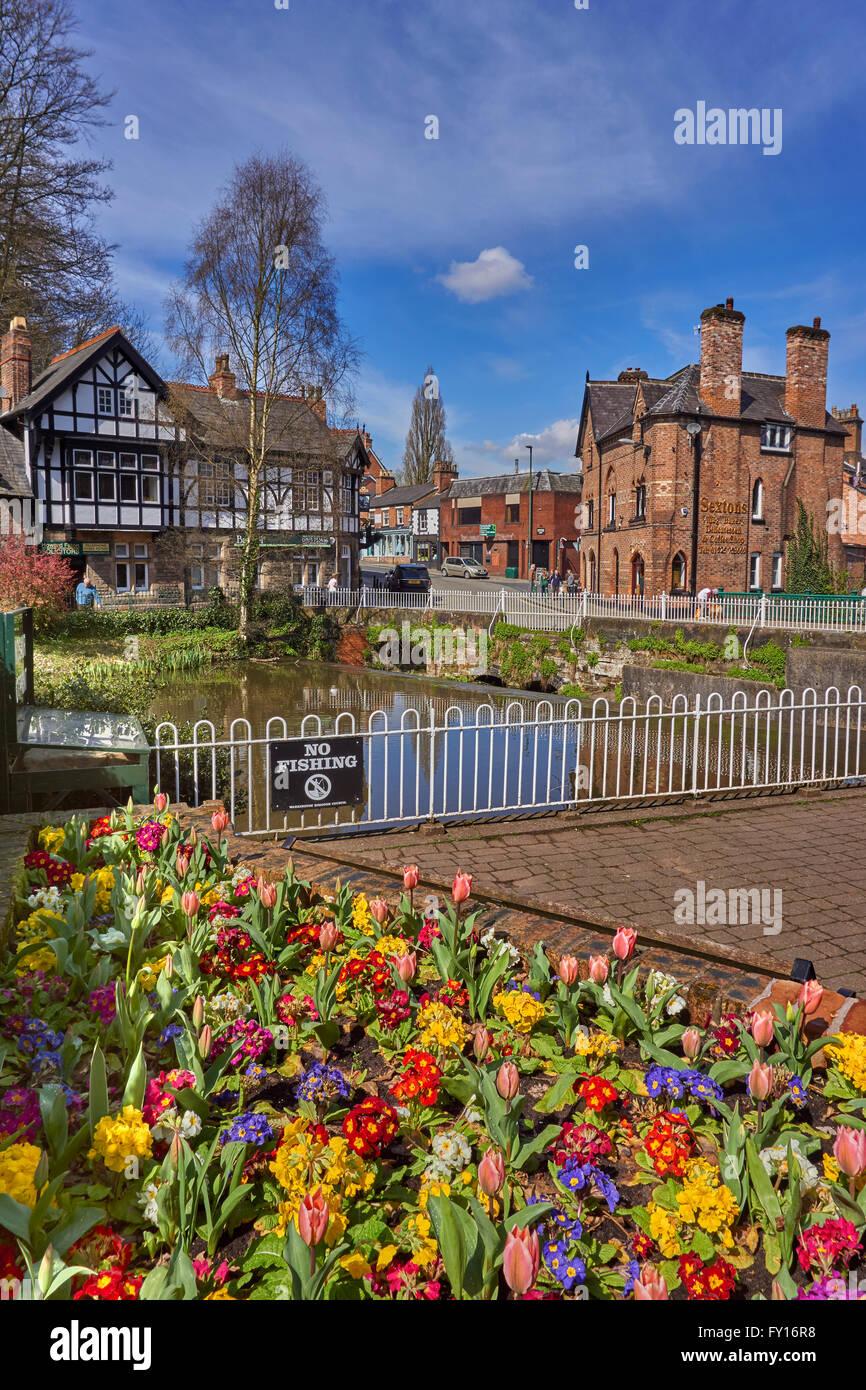 Lymm Village and lower dam, Lymm, Warrington, Cheshire. - Stock Image