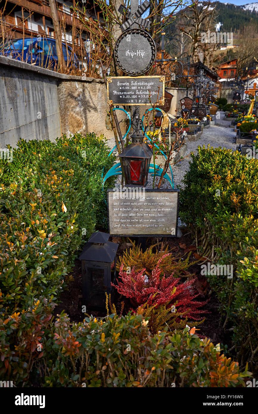 Grave of Nobel Prize winner Erwin Schrodinger at St. Oswald's church, Alpbach village, Tyrol, Austria - Stock Image