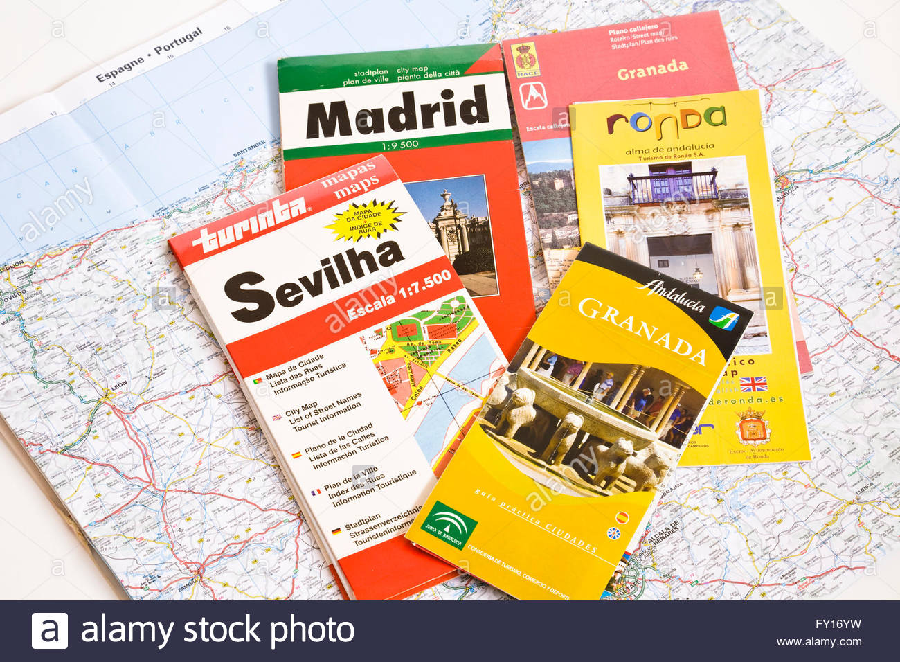 Travel brochures and map of Spain - Stock Image