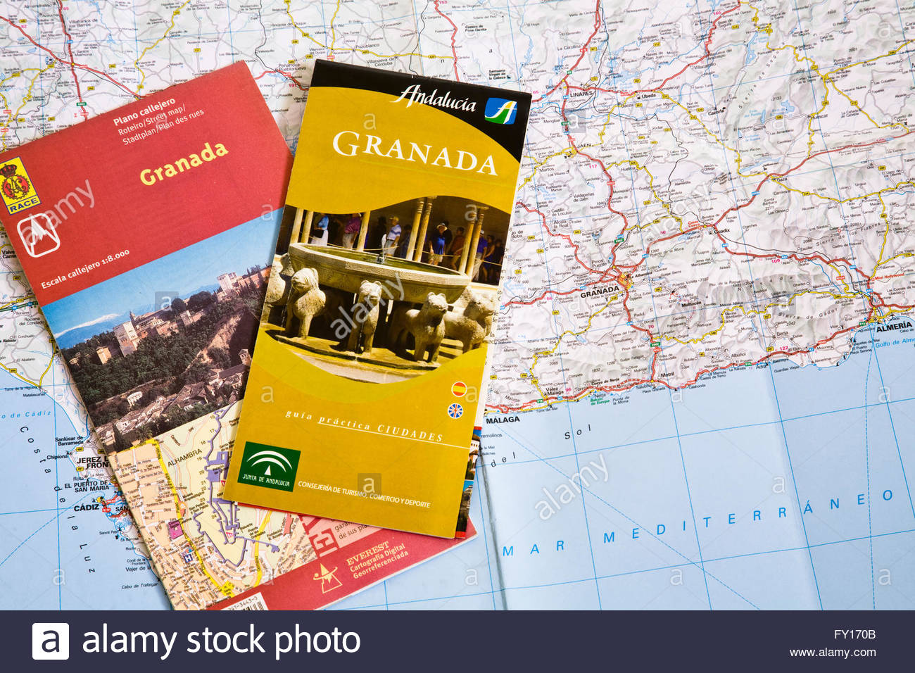 Travel Map Of Spain.Travel Brochures And Map Of Spain Stock Photo 102675003 Alamy