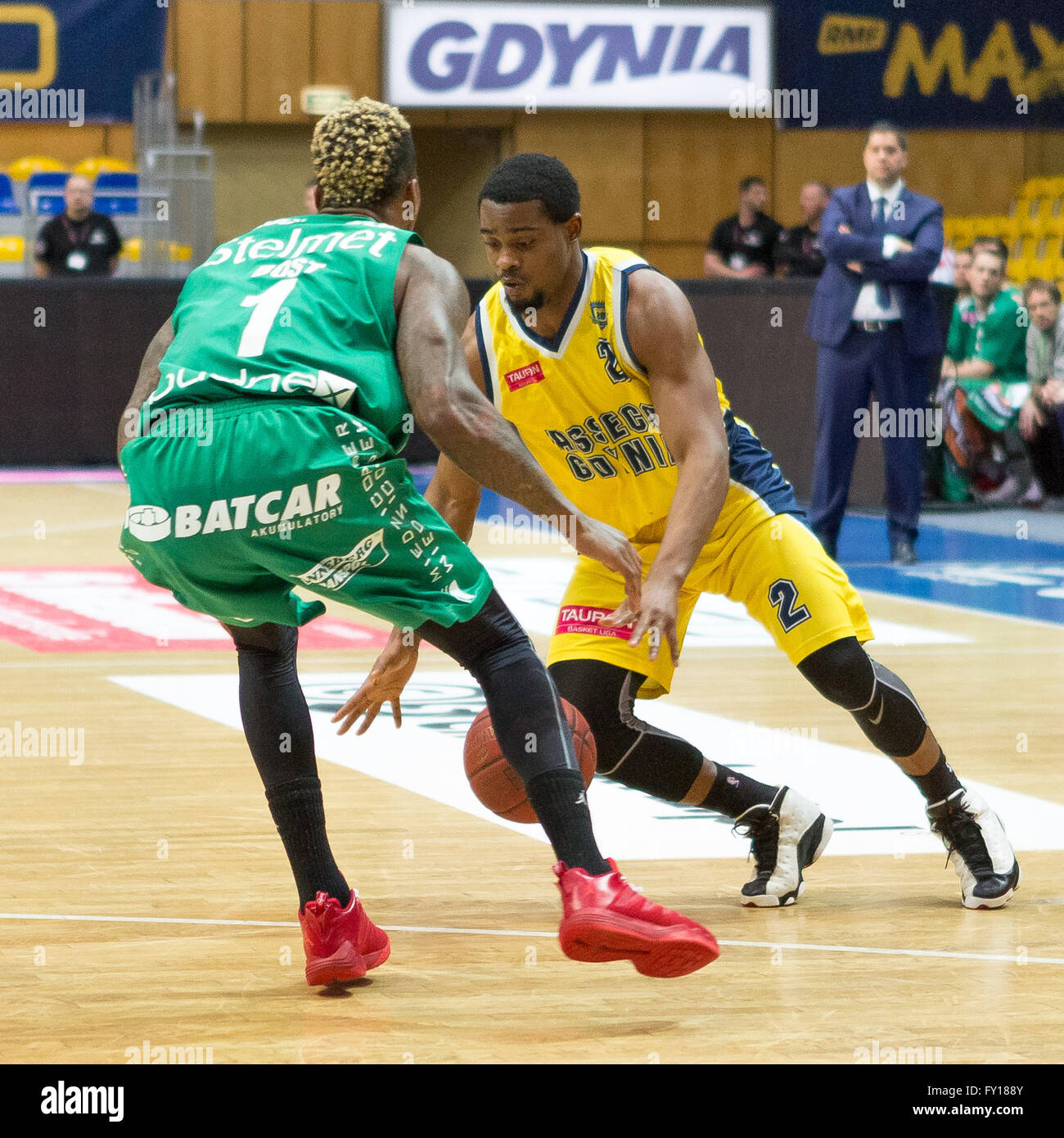 Gdynia Arena, Gdynia, Poland, 19th April, 2016. Basketball Tauron League,  Dee Bost, Anthony Hickey in action during - Stock Image