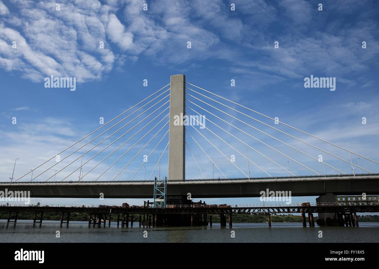 (160419) -- DAR ES SALAAM, April 19, 2016 (Xinhua) -- A part of the Kigamboni Bridge is seen in Dar es Salaam, Tanzania, - Stock Image