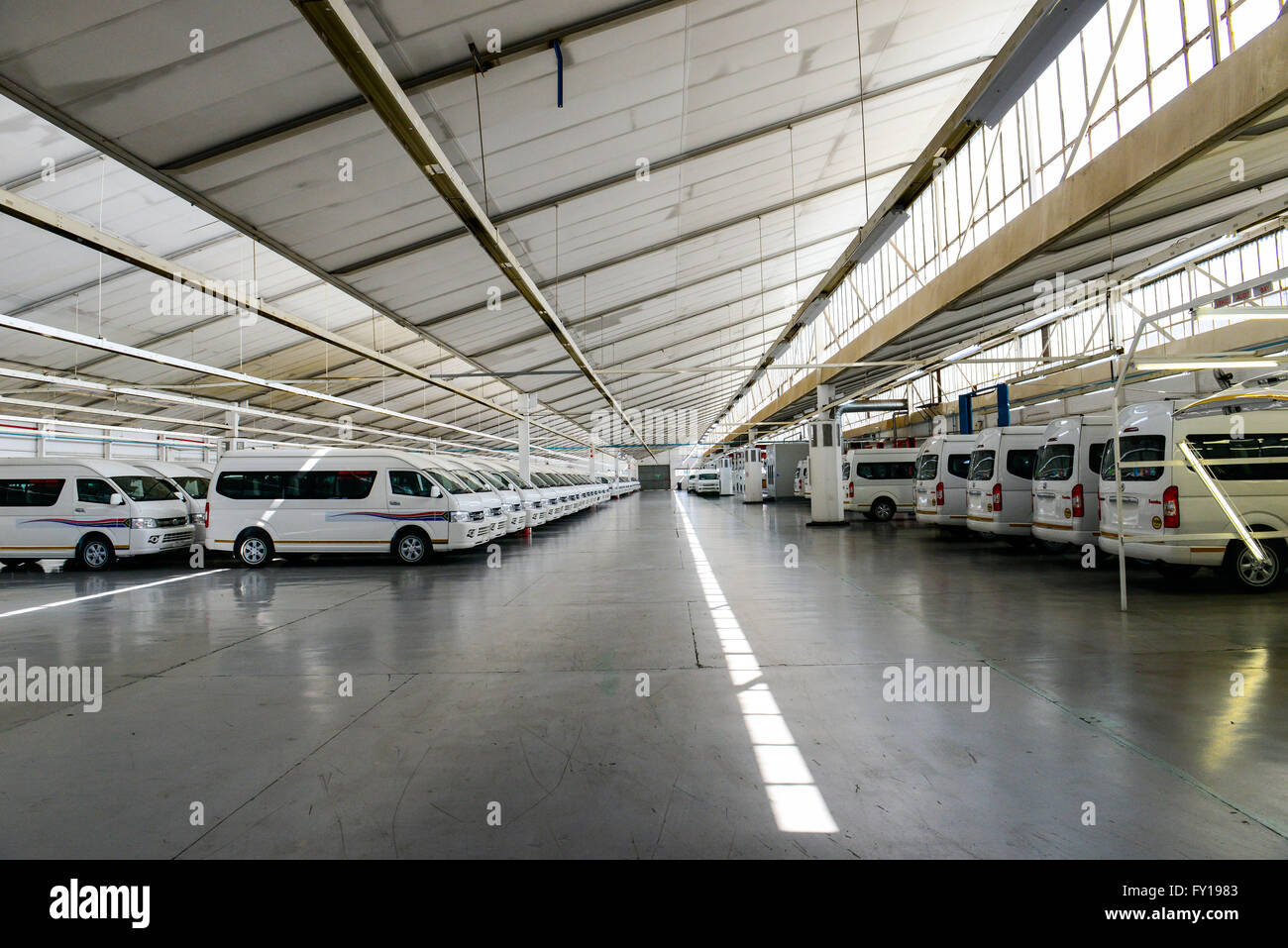 Johannesburg. 19th Apr, 2016. Photo taken on April 19, 2016 shows the buses at the automobile plant of Beijing Automobile - Stock Image