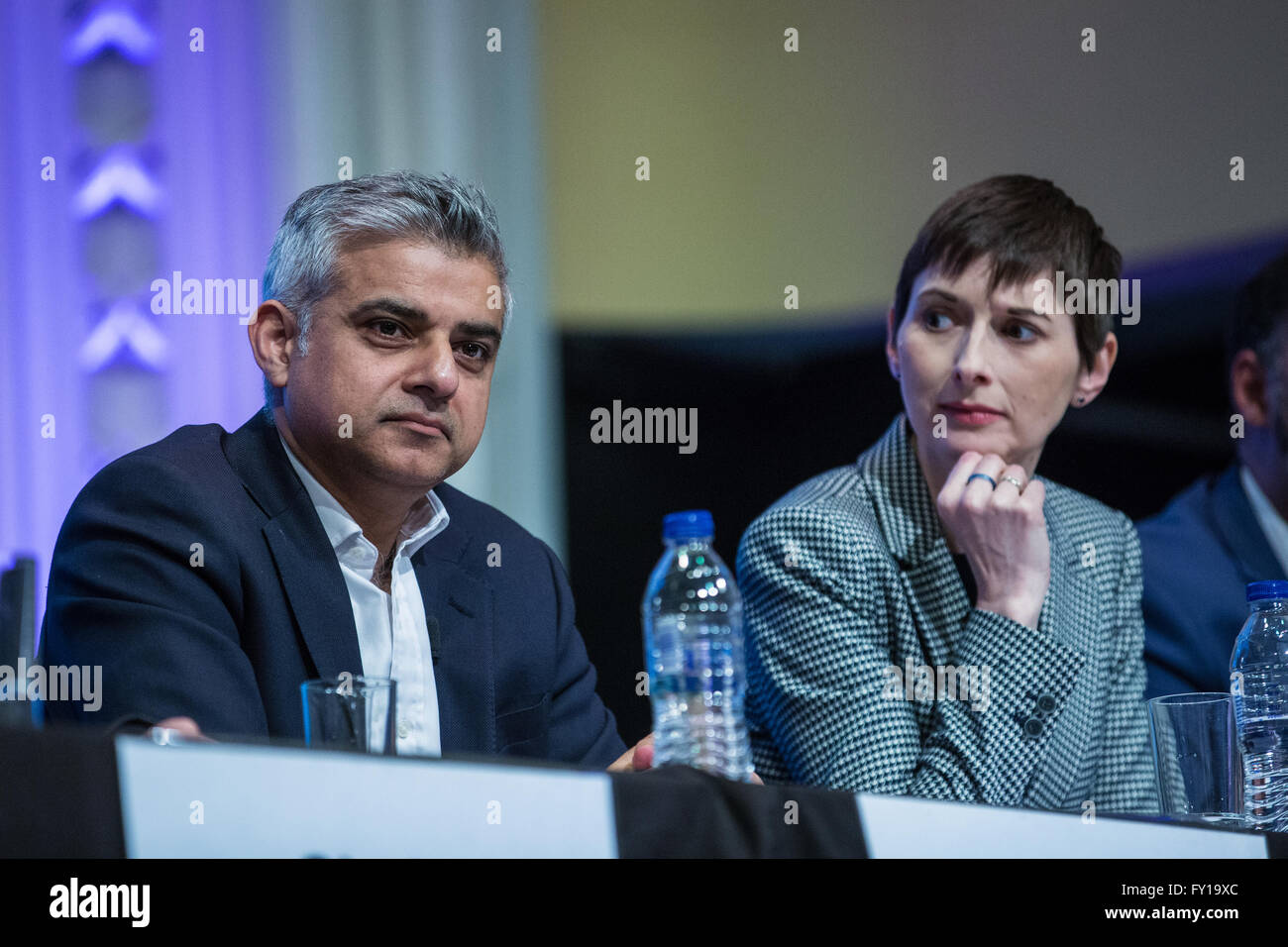 London, UK. 19th April, 2016. Sadiq Khan, Labour candidate, and Caroline Pidgeon, Liberal Democrat candidate, at - Stock Image