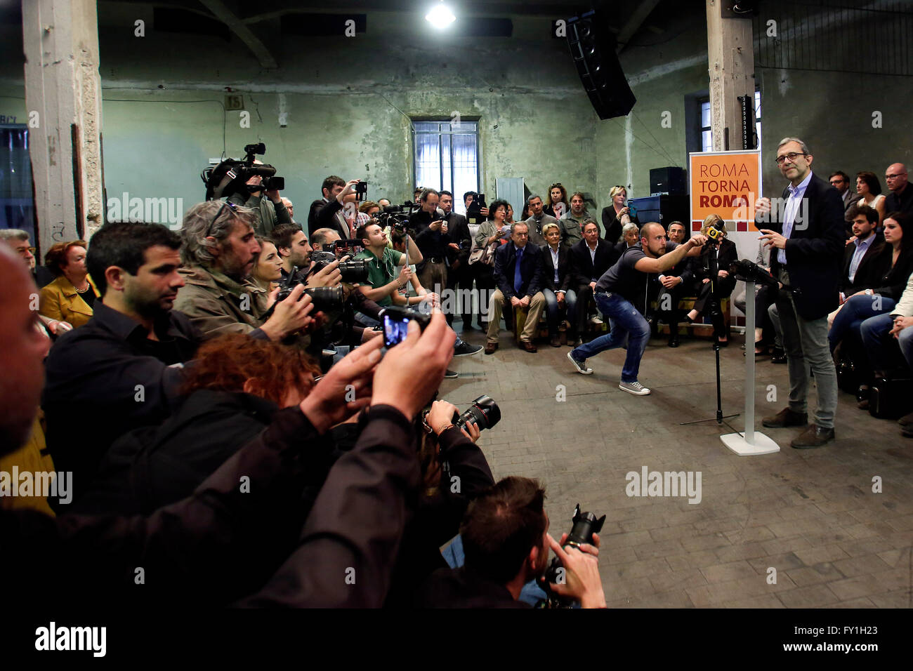 Rome, Italy. 20th April, 2016. Roberto Giachetti with the candidates Rome 20th April 2016. Roberto Giachetti presents - Stock Image