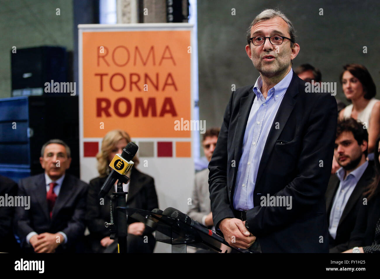 Rome, Italy. 20th April, 2016. Roberto Giachetti  Rome 20th April 2016. Roberto Giachetti presents the candidates - Stock Image