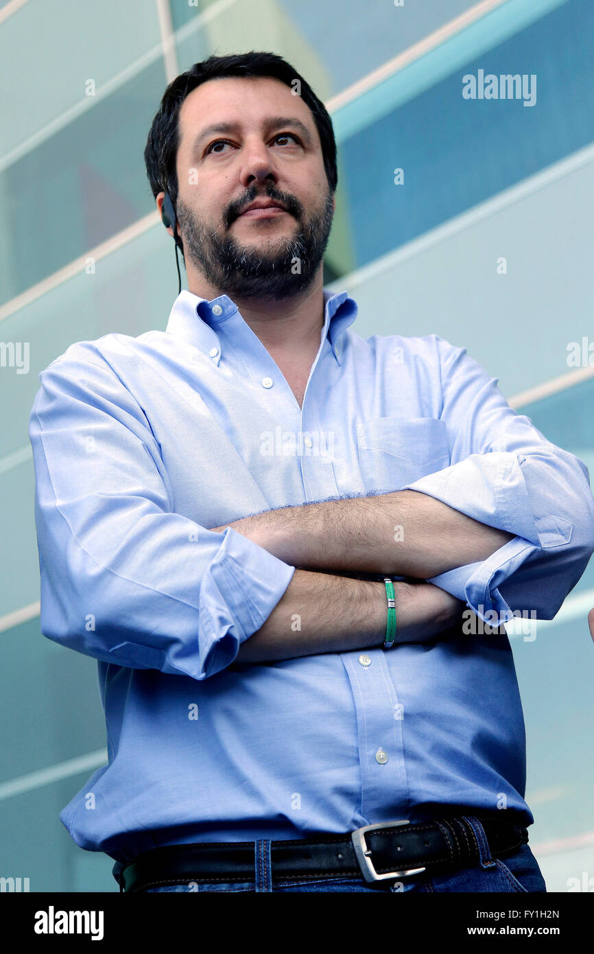 Matteo Salvini  Rome 20th April 2016. The secretary of Lega Nord party visits Tiburtina Station  © Insidefoto/Alamy - Stock Image
