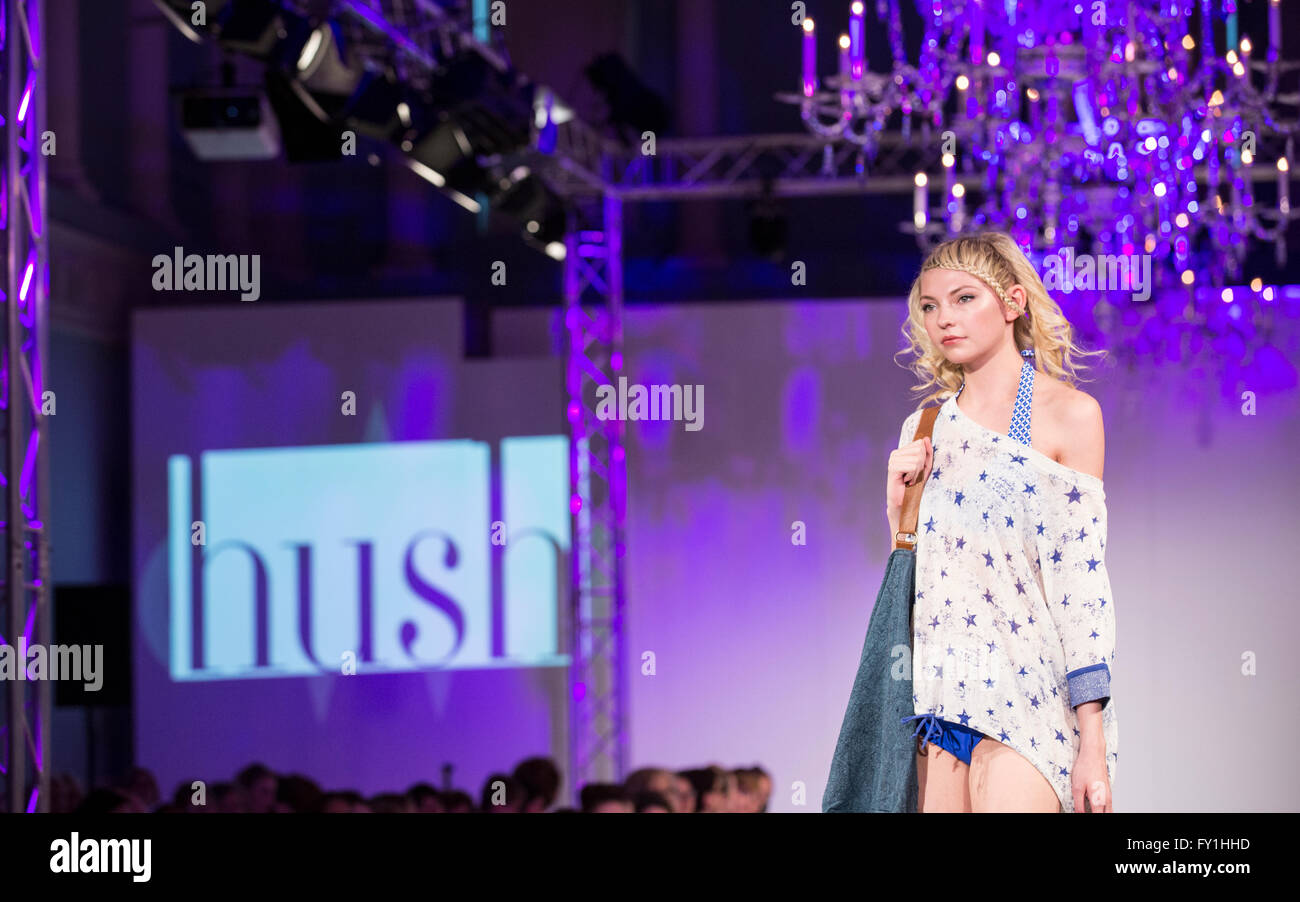 Bath, UK. 20 April, 2016. Catwalk show at the Bath, Assembly Rooms that showcases key looks for Spring/Summer 2016' - Stock Image
