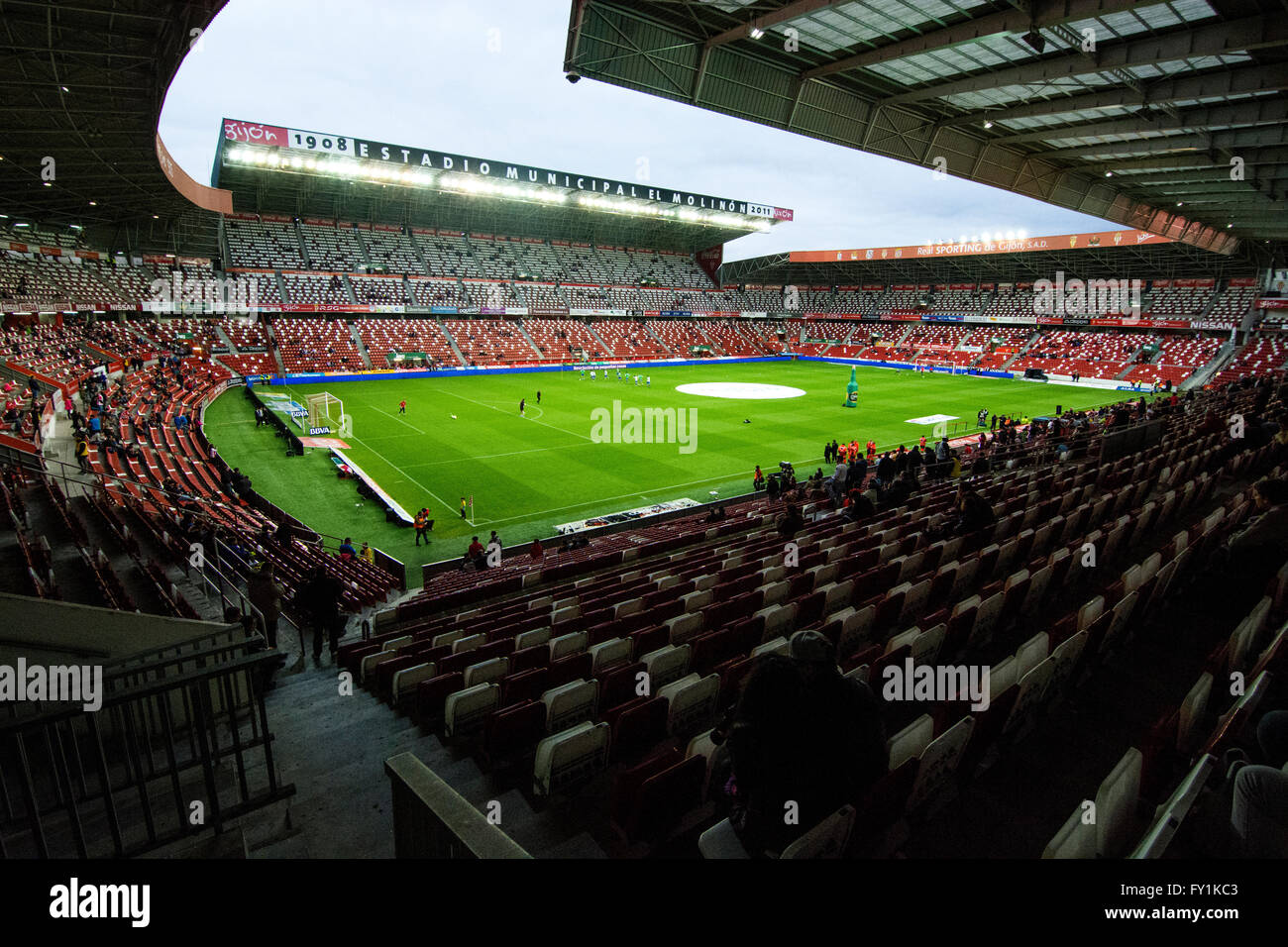 Gijon, Spain. 20th April, 2016. Stadium Molinon after the start of the football match of Spanish 'La Liga' between - Stock Image