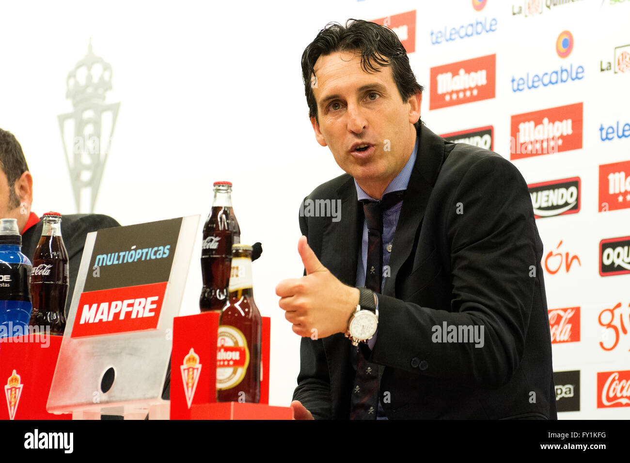 Gijon, Spain. 20th April, 2016. Unai Emery (coach, Sevilla FC) during press conference of the football match of - Stock Image