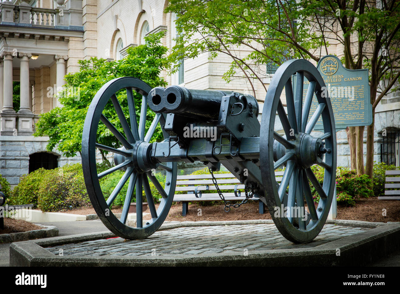 Infamous double-barreled Cannon - that never worked as planned, Athens, Georgia, USA - Stock Image