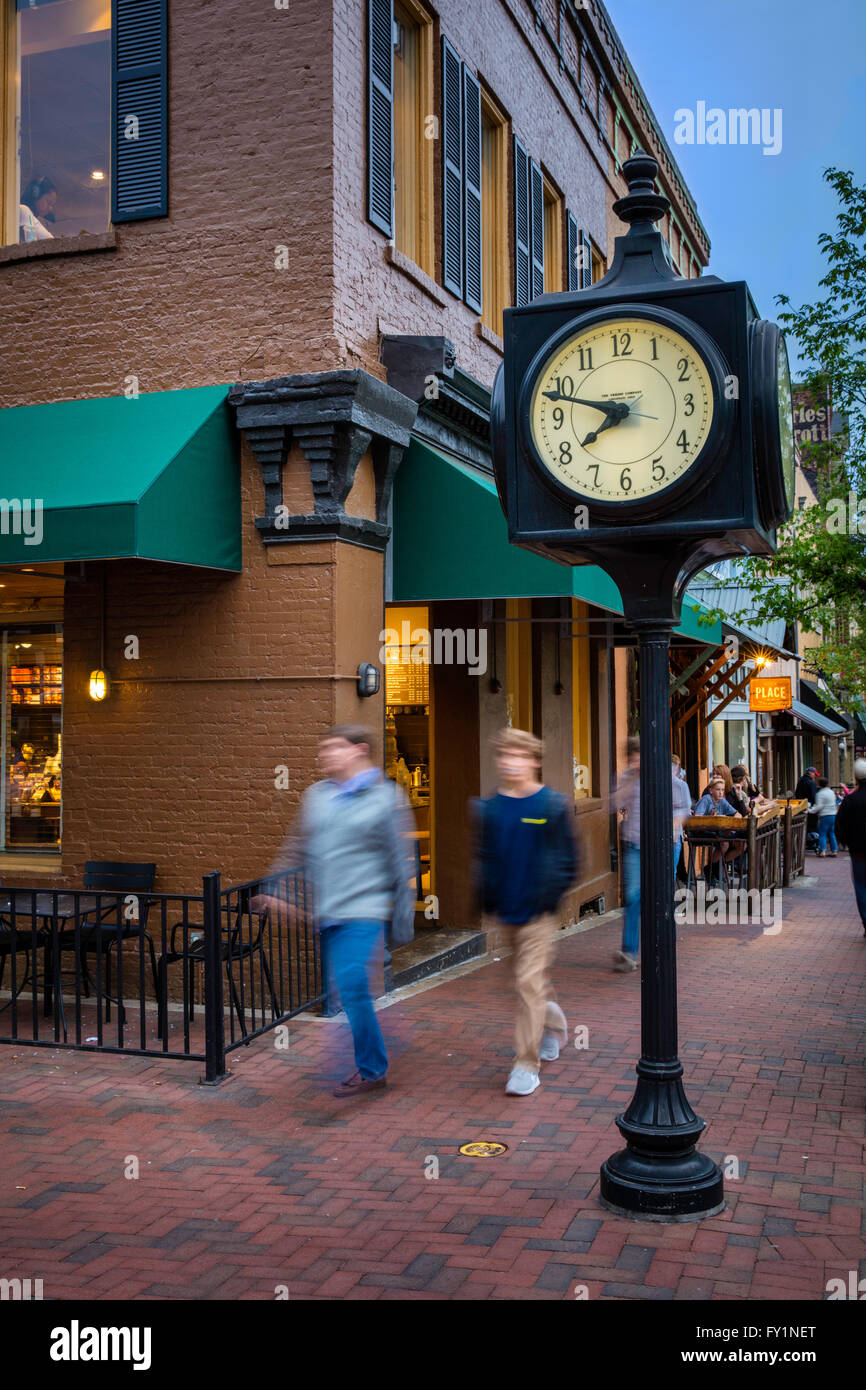 Shops and Cafes in downtown Athens, Georgia, USA - Stock Image