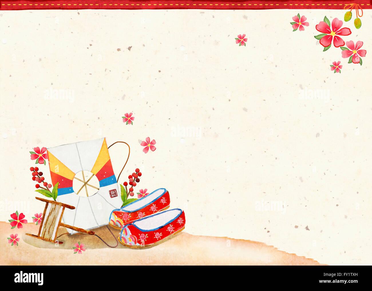 Korean new year and kite stock photos korean new year and kite new year card design in korean traditional object image stock image m4hsunfo