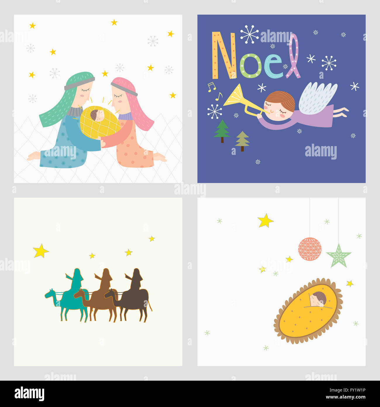 Card design with images representing Christmas and the birth of ...